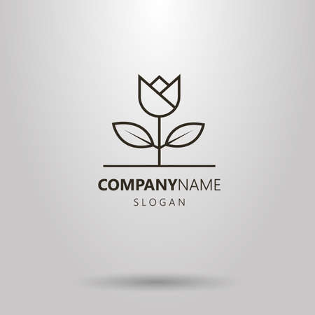 Black and white simple line art flower logo