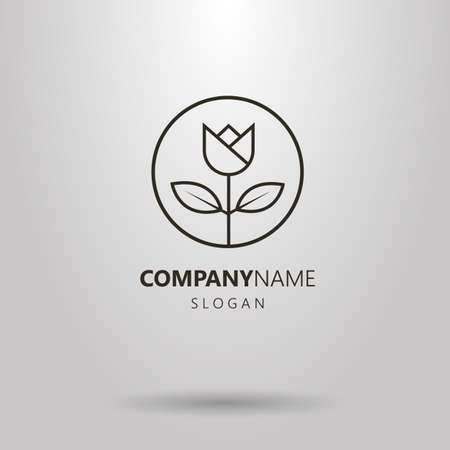 Black and white line art flower logo in a round frame Logo