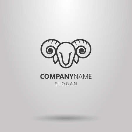 Black and white simple line art line ram head logo