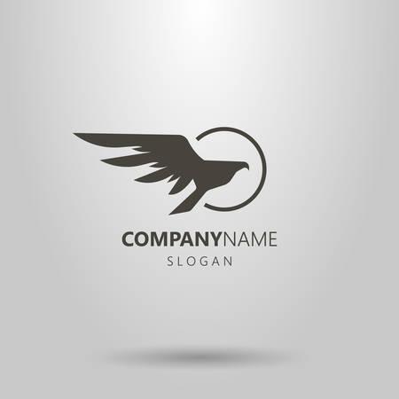 Logo di falco astratto di vettore semplice bianco e nero