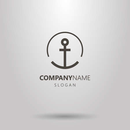 Black and white simple vector line art anchor logo in a round frame