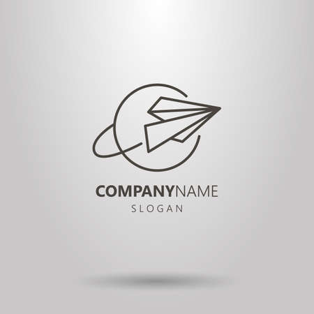 Black and white simple vector line art logo of airplane and planet