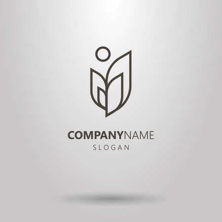 Black and white simple vector line art plant with sun logo