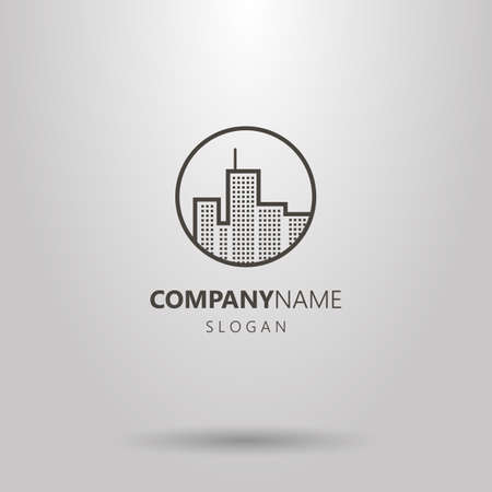 Black and white line art logo of urban high-rise buildings in a round frame