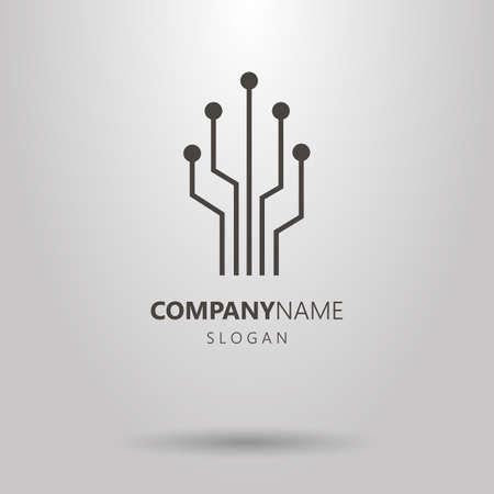 Logotipo de árbol de chip geométrico de arte de línea vectorial simple blanco y negro
