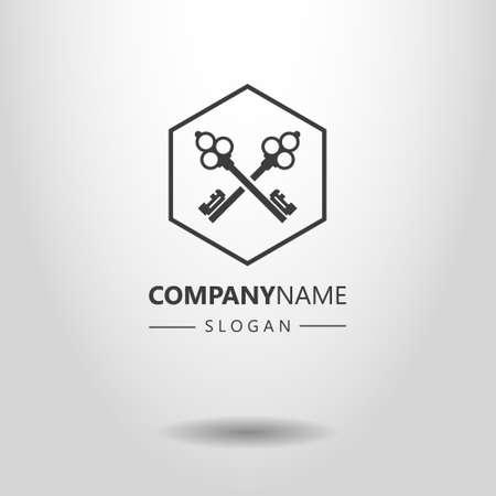 Logo vettoriale semplice in bianco e nero di due chiavi incrociate in una cornice esagonale