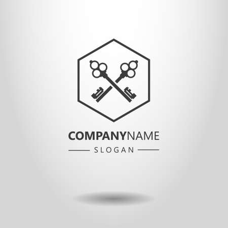 Black and white simple vector logo of two crossed keys in a hexagon frame