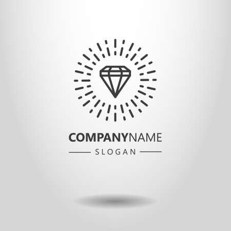 black and white simple vector line art logo of diamond in rays
