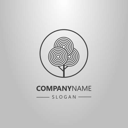 black and white simple vector line art geometric logo of circle tree in a round frame