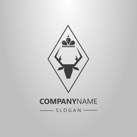 black and white simple vector logo of deer head with a crown in a rhombus frame