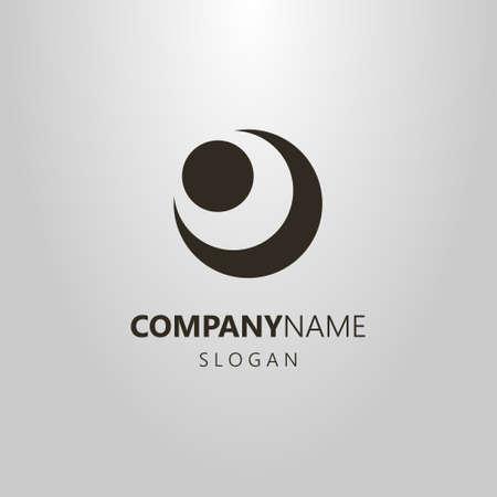 logotipo de vector simple en blanco y negro de la figura abstracta de la luna y el sol