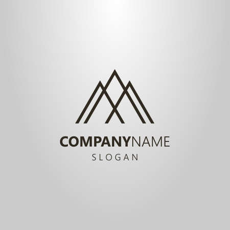 black and white simple geometric vector line art logo of three mountain peaks