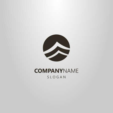 bianco e nero semplice vettore negativo astratto mare onde logo Logo