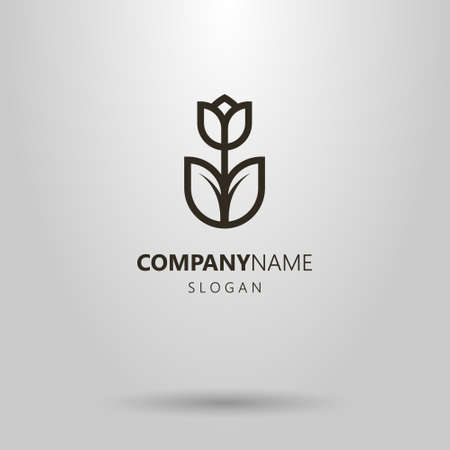 black and white simple vector geometric line art logo of a tulip flower