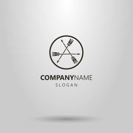 logotipo simple blanco y negro de vector de tres flechas se reflejan en otra en un marco redondo Logos
