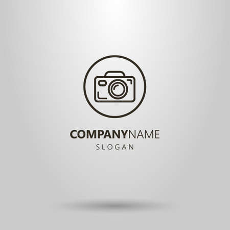 Black and white simple vector camera logo in the round frame Illustration