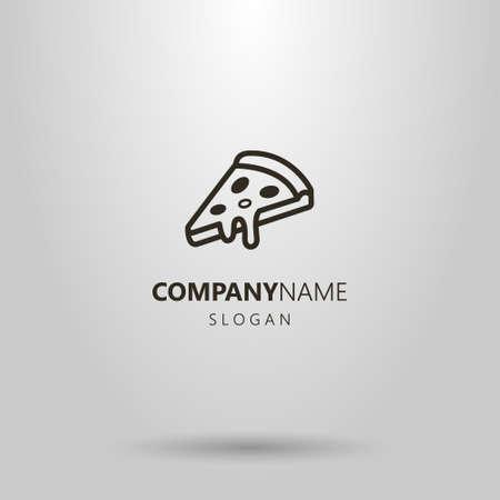 Black and white simple vector pizza slice logo Logo