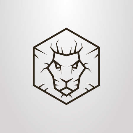 Black and white simple vector line art hexagon symbol of lion head
