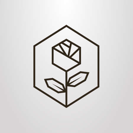 Black and white simple vector line art geometric symbol of rose flower in a hexagon frame