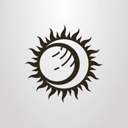 Black and white simple vector symbol of the sun moon and planet eclipse