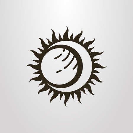 Symbole de vecteur simple noir et blanc de l'éclipse de lune et de la planète soleil Vecteurs
