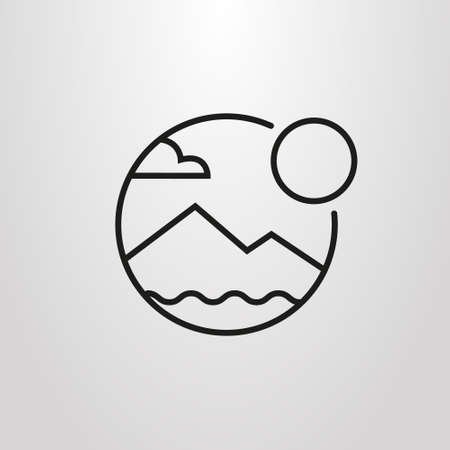 black and white simple vector line art round symbol of mountain landscape and sun