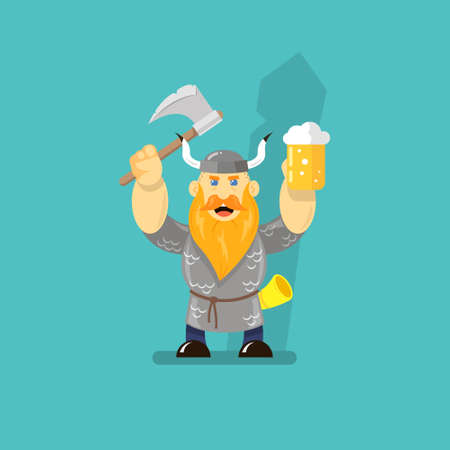 colored flat art cartoon illustration of a viking with an ax and a glass of beer