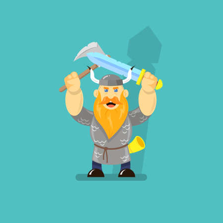 colored cartoon flat art illustration of a Viking with a sword and an ax
