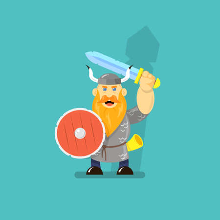 colored flat art cartoon illustration of a viking with sword and shield