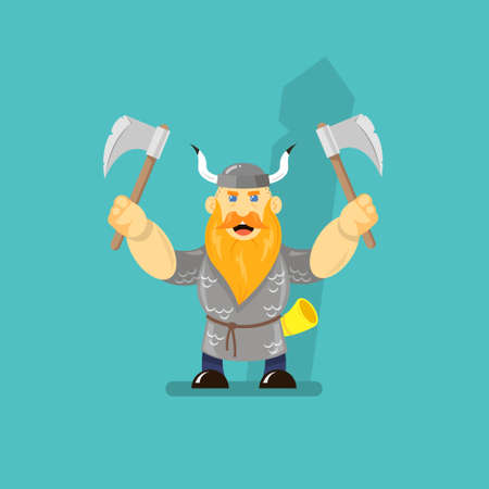 colored flat art cartoon illustration of a viking with two axes Imagens - 105058677