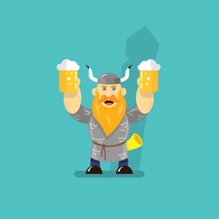 colored flat art cartoon illustration of a viking with two glasses of beer