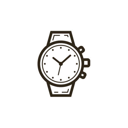 black and white simple line art watch icon