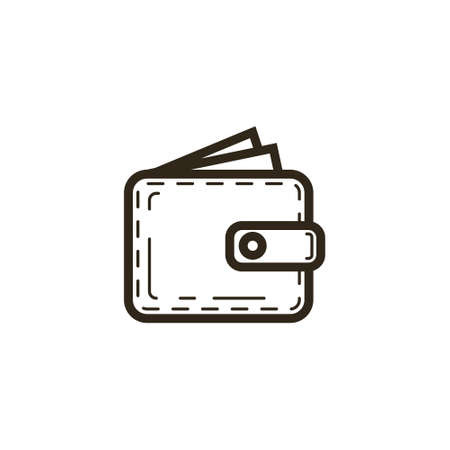 black and white simple vector line art icon of the wallet with sticking out bills Ilustrace