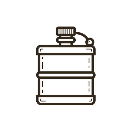 black and white simple vector line art icon of the flask
