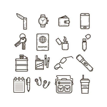 set of black and white simple vector line art icons for everyday care things to use