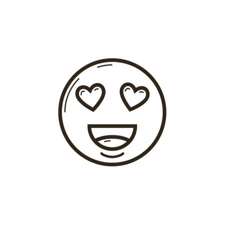 black and white simple vector line art icon of the enamored smiley