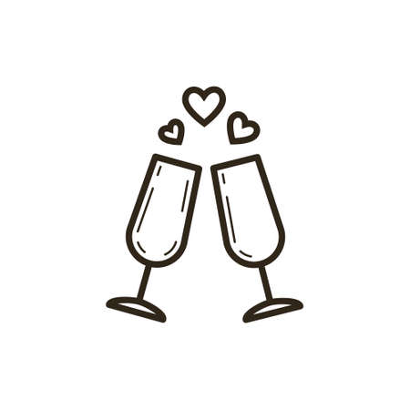 black and white simple vector line art icon of two wine glasses with hearts