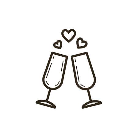 icône d'art de ligne vecteur simple noir et blanc de deux verres à vin avec coeurs
