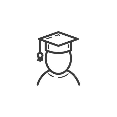 black and white simple vector line art outline icon of the graduate of the university