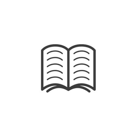 black and white simple line art line outline icon of the open book
