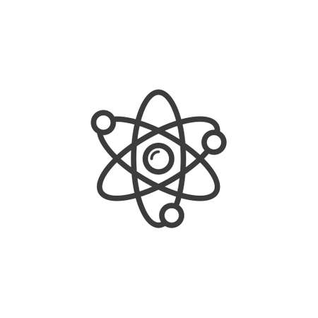 black and white simple vector line art outline atom icon