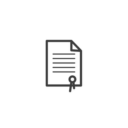 black and white simple vector line art outline icon of the honorary document
