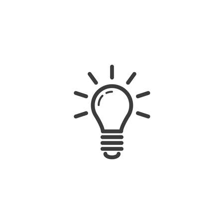 black and white simple vector line art outline icon of a glowing light bulb