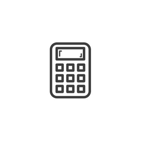 black and white simple vector line art outline calculator icon