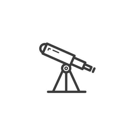 black and white simple vector line art outline telescope icon