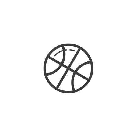 black and white simple vector line art outline basketball ball icon Stock Illustratie