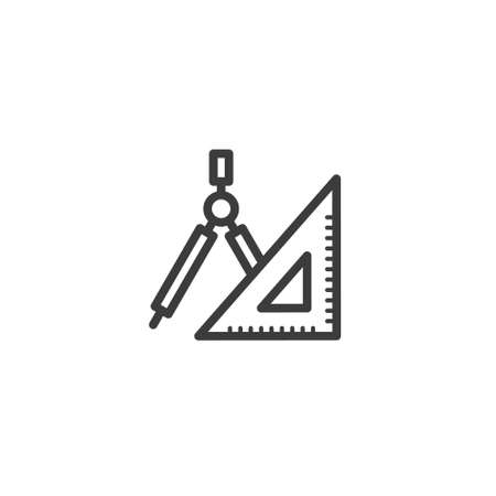 black and white simple vector line art outline tools icon for geometry Stock Illustratie