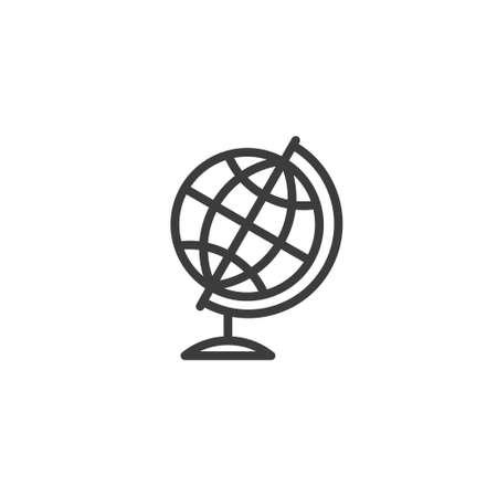 black and white simple vector line art outline globe icon Vettoriali