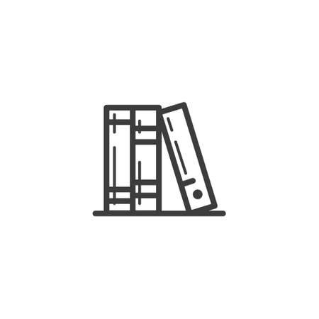 black and white simple vector line art outline icon of several books Stock Illustratie