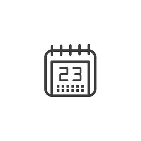 black and white simple vector line art outline calendar icon